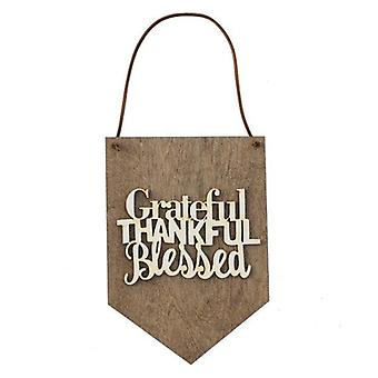 Grateful Thankful Blessed - Wood Wall Banner