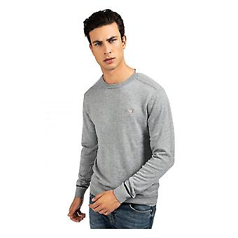 GUESS Guess Crew Neck Wool Blend Pull Gris