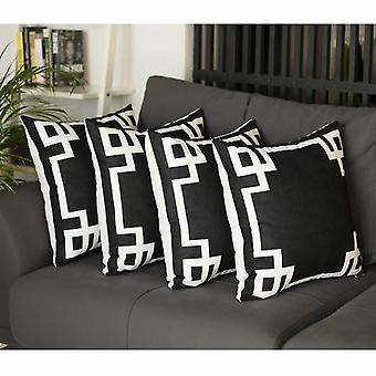 Geometric Black &white Square Decorative Throw Pillow Cover (set Of 4)