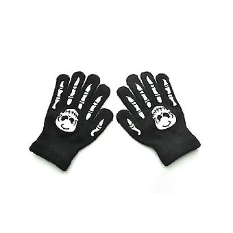 Knitted Luminous Gloves Halloween Skeleton Fingerless Mittens Ghost Paw Full