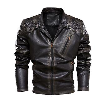 Men's Cool Color Matching Stand-up Collar Velvet Leather Jacket
