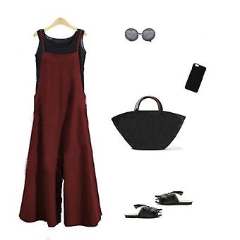 Women Casual Loose Summer Solid Strap Wide Leg Pants Cotton Linen Jumpsuits
