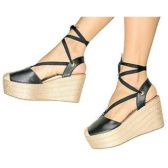 Espadrille Sandals Silvia Cobos Lace Up Leather Black