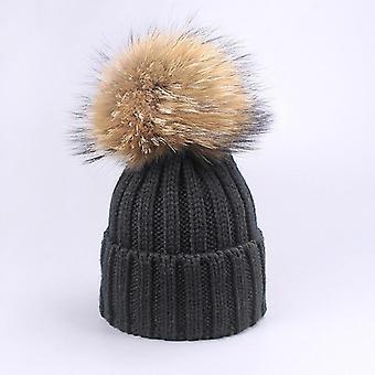Meisje Pompon hoeden en sjaals Sets, Winter Gebreide Warme Natuur Bont Hoed, Sjaal