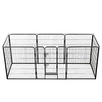 Dog grille 8 panels steel 80 x 100 cm Black