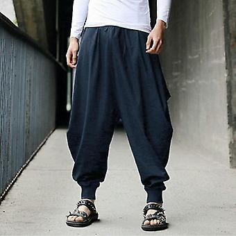 Japanese Loose Joggers Trousers Mens Cross-pants Crotch Wide Leg Baggy Pants
