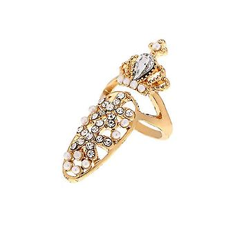 Womens Bowknot Princess Crown Charm Nail Ring For Party