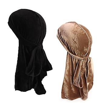Men's Velvet Breathable Turban Wigs Doo Rag Long Tail Biker Headwear Pirate