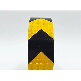 5cmx5m  Self-adhesive Reflective Warning Tape With Yellow Black Color Arrow