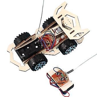 Wooden Diy Assembly 4-ch Electric Rc Racing Car Experiment Toy (wood)