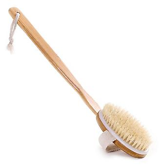 Natural Bristle Body Scrubber, Long Handle Wooden Brush Skin Cleaner