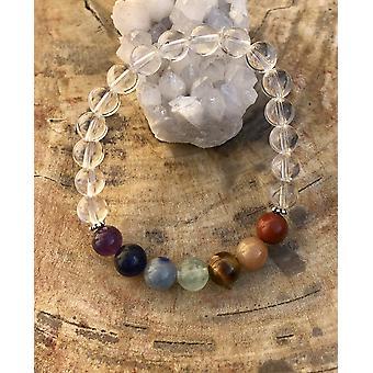 Chakra & Crystal Quartz Stretch Bracelet! Handmade Natural Stones!