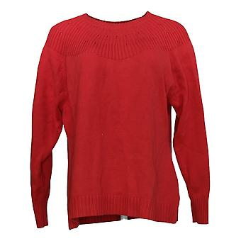 Isaac Mizrahi Live! Women's Sweater Ribbed Neck Pullover Red A389126