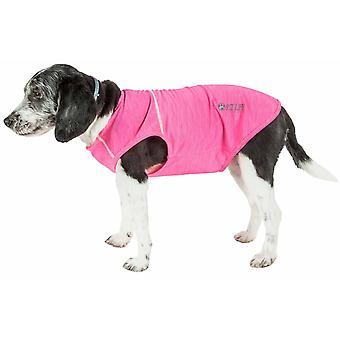 Pet Life Active 'Aero-Pawlse' Heathered Quick-Dry And 4-Way Stretch-Performance Dog Tank Top T-Shirt, Hot Pink/Light Pink - X-Small