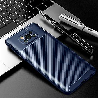 Auto Focus Xiaomi Poco F3 Case - Carbon Fiber Texture Shockproof Case Rubber Cover Blue