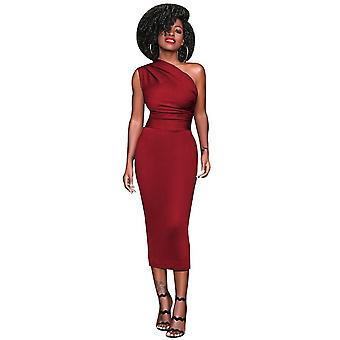Kvinner bodycon midi kjole en skulder høy midje ermeløs fest klubbklær