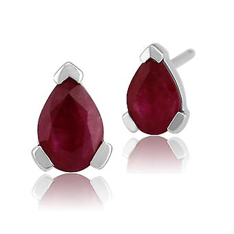 Classic Pear Ruby Stud Earrings in 9ct White Gold 6.5x4mm 117E0027069