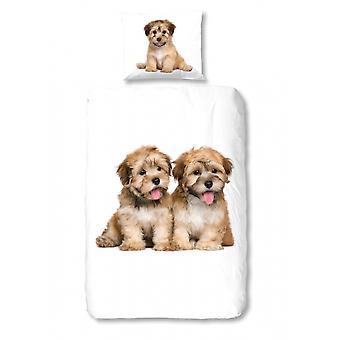 sängkläder hundar 135 x 200 cm vita