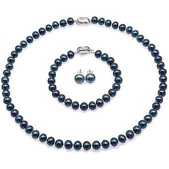 FengChun s Schmuckset Damen - 8-8,5mm gefrbt-blau Swasser Zuchtperlen Halskette Armband und Ohrringe