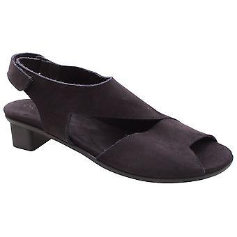 Arche Soft Black Nubuck Leather Low Heel Sandal