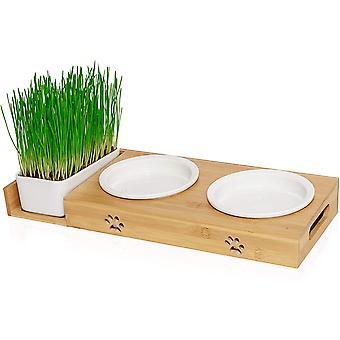 ® Futterstation mit Katzengras für Katzen - Katzennapf/Futternapf aus Porzellan - erhöhtes Napf-Set