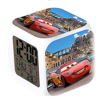 Clock Lightning Mcqueen 7 Colors Changing Digital Thermometer Glowing Cube Alarm Clock Cars
