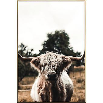 JUNIQE Print - Boris Highland Cow - Kor Affisch i Brunt & Grönt