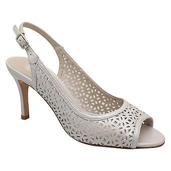 Lisa Kay Silver High Heel Sling Back Peep Toe Laser Cut Dress Sandal