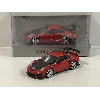 Minichamps 870068121 Porsche 911 GT2 RS 2018 Red with Carbon Bonnet 1:87 Scale