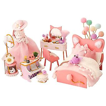 Diy miniature furniture ocean room kit dollhouse with light fish assembled 3d model casa doll house for children adult gifts