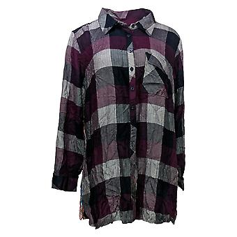 Tolani Collection Women's Plus Top Reg Plaid Tunic Print Back Red A383438