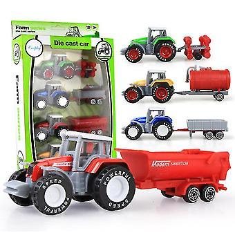 4pcs למשוך בחזרה הזזה סגסוגת כלי רכב חקלאיים, מודל טרקטור החווה סימולציה