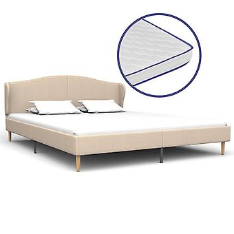vidaXL bed with memory foam mattress beige fabric 160×200 cm