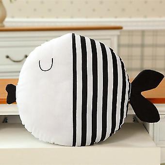Simple Black And White Fish Pillow Kiss Fish Polka Dot Fish Cushion Doll