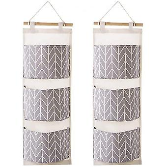 The Door Closet Organizer, 2 Packs Wall Hanging Storage Bags With 3 Pockets For Bedroom & Bathroom (gray)