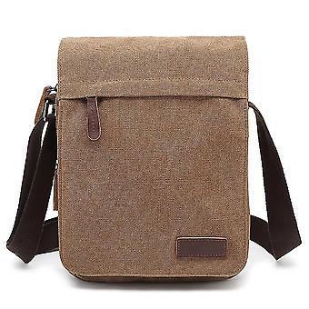 Canvas shoulder bag casual shoulder bag men's travel chest bag(Khaki)