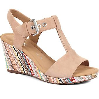Gabor Womens Karen Wedge T-Bar Sandals