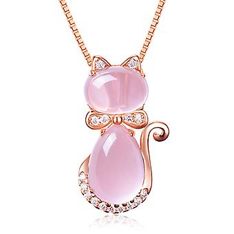 Women Plating Rose Gold Cat Necklace