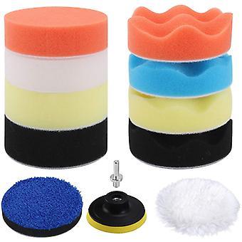Hot Sale Car Polishing And Waxing 3 Inch Sponge Wool Pad Towel Pad 12 Piece Set Of Car Beauty Products