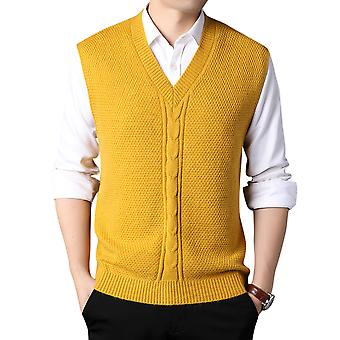 Mile Mens V-neck Sleeveless Vest Classic Business Gentleman Knitwear Knitted Waistcoat Sweater Cardigans Tank Tops