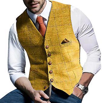 Yunyun Men's V-neck Button Casual Plain Check Suit Vest