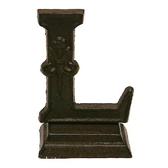 Iron Ornate Standing Monogram Letter L Tabletop Figurine 5 Inches