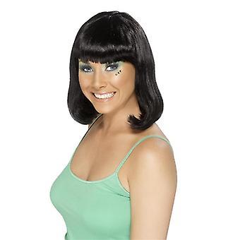 Strona dziewczyny GoGo wig średnio długie, czarne strony wig