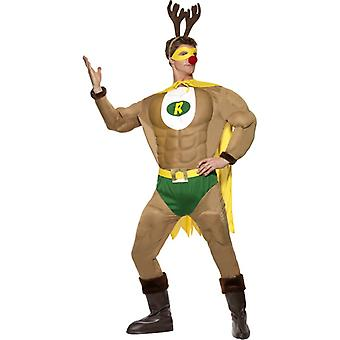 Super Ren musculare costum de Crăciun ReindeerMan super-erou