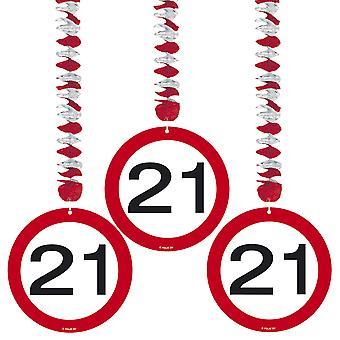 SpiralGars 3 buc. semn de trafic numărul 21 ziua de nastere rotor spirale