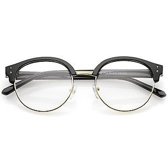 Klassinen Horn reunustetut kierroksen selkeä linssi puoli kehyksen silmälasit 50mm