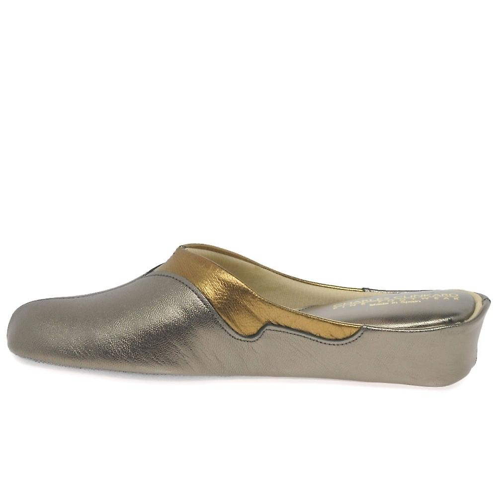 Relax Slippers Messina Pewter Leather/Copper Slipper