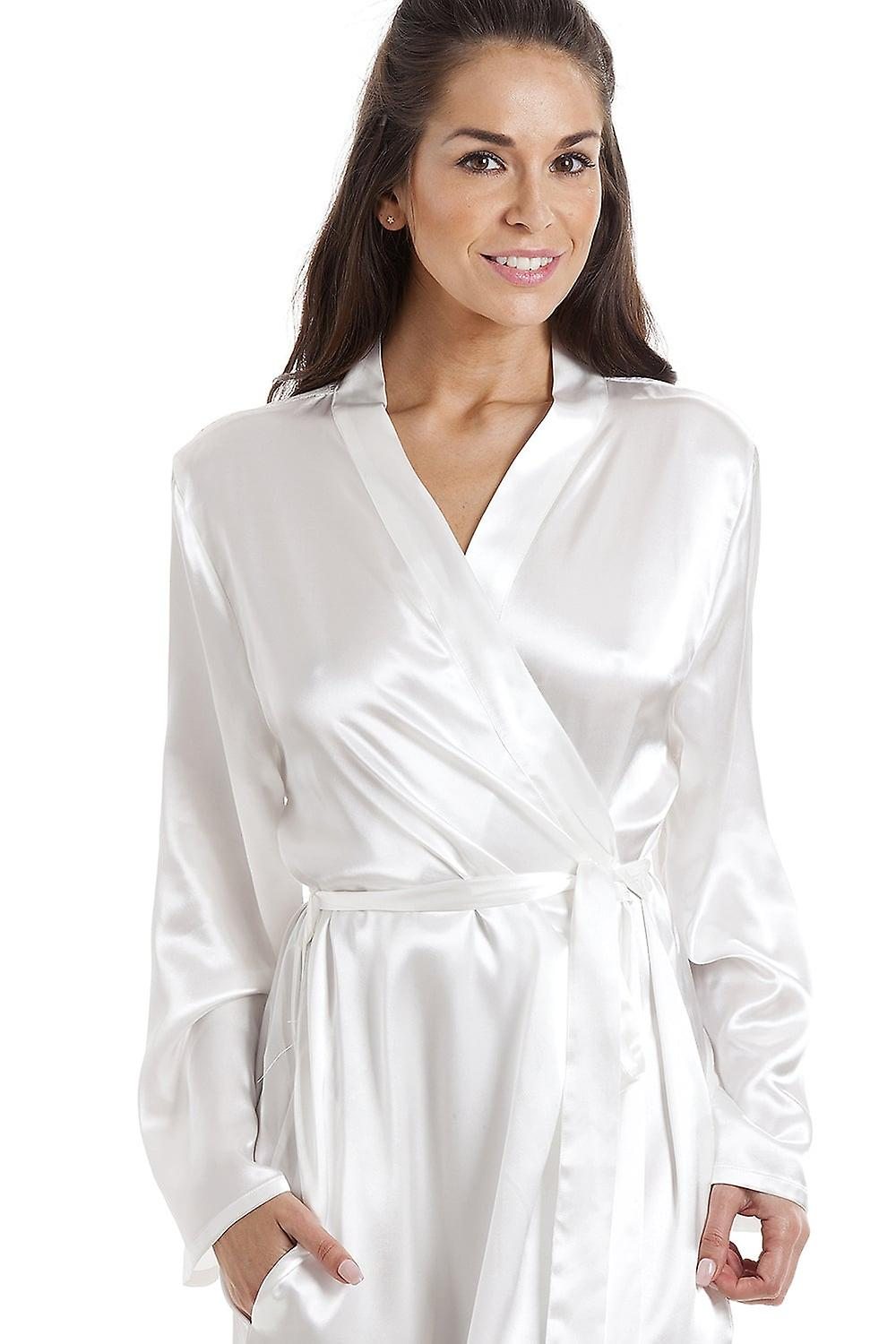 Camille Womens Cream Luxury Satin Dressing Gown