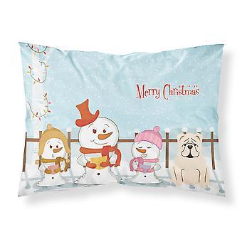 Merry Christmas Carolers English Bulldog White Fabric Standard Pillowcase