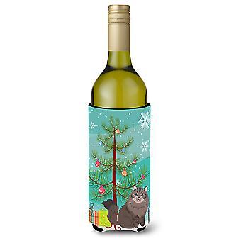 Siberian Cat joyeux Noël arbre bouteille de vin Beverge isolateur Hugger
